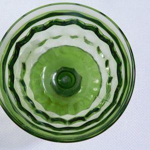 Vintage Kitchen - Emerald Green Dessert Glasses- set of 4